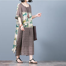 Load image into Gallery viewer, New green print patchwork silk caftans plus size o neck traveling dress New short sleeve caftans