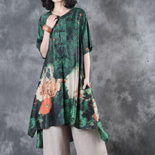 Load image into Gallery viewer, New green prints silk tops plus size clothing t shirt Elegant Chinese Button stand collar  shirt