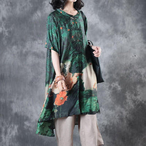 New green prints silk tops plus size clothing t shirt Elegant Chinese Button stand collar  shirt