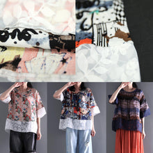 Load image into Gallery viewer, New half sleeve short t shirt linen lace blouse women summer oversize top