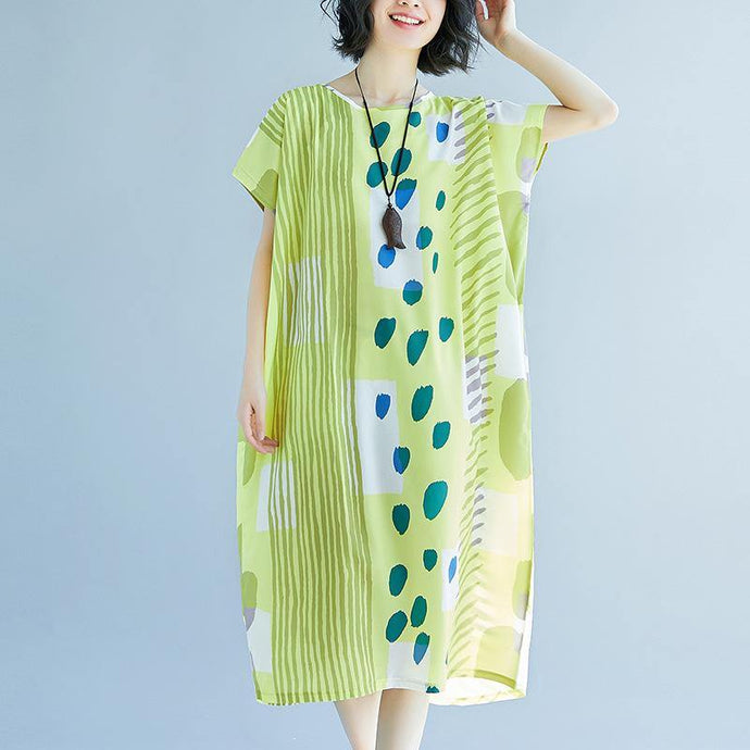 New light green prints long cotton dress oversize patchwork cotton gown Elegant o neck cotton caftans