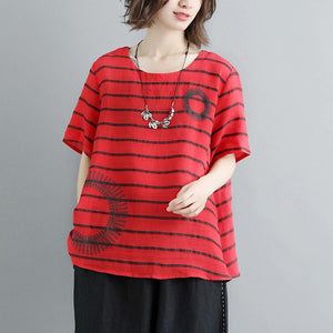 New linen blouses oversized Casual Summer Short Sleeve Stripe Red Blouse