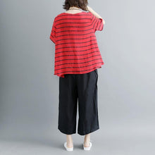 Laden Sie das Bild in den Galerie-Viewer, New linen blouses oversized Casual Summer Short Sleeve Stripe Red Blouse