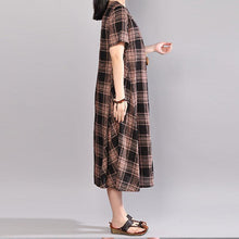Load image into Gallery viewer, New linen dress trendy plus size Cotton Short Sleeve Pullover Black Plaid Dress