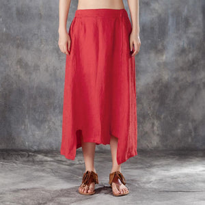 New linen summer skirt plus size Women Irregular Jacquard Linen Red Skirts