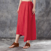 Load image into Gallery viewer, New linen summer skirt plus size Women Irregular Jacquard Linen Red Skirts