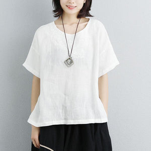 New linen tops plus size Embroidery Round Neck Short Sleeve White Tops