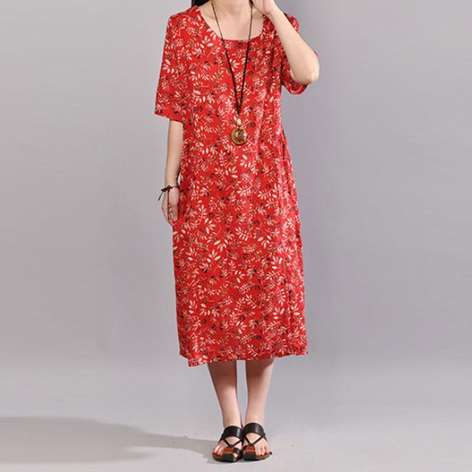 New long cotton dresses Loose fitting Printed Short Sleeve Cotton Women Red Dress
