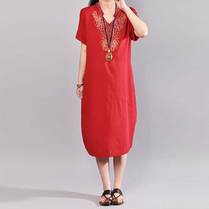 New long linen dresses plussize Casual Embroidered V Neck Red Short Sleeve Dress