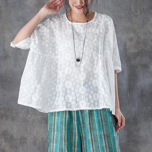 New natural linen t shirt casual Loose Round Neck 12 Sleeve Linen Cotton White Tops