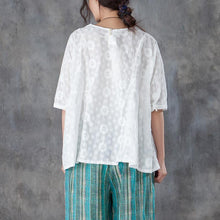 Load image into Gallery viewer, New natural linen t shirt casual Loose Round Neck 12 Sleeve Linen Cotton White Tops