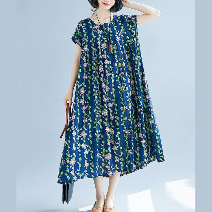 New navy color green floral long cotton dress oversize patchwork caftans casual short sleeve kaftans