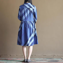Laden Sie das Bild in den Galerie-Viewer, New navy plaid vintage sundress causal cotton summer maxi dresses