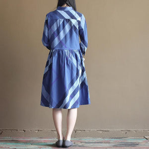 New navy plaid vintage sundress causal cotton summer maxi dresses