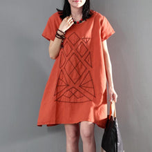 Load image into Gallery viewer, New orange linen sundress loose causal summer dresses short sleeve blouse