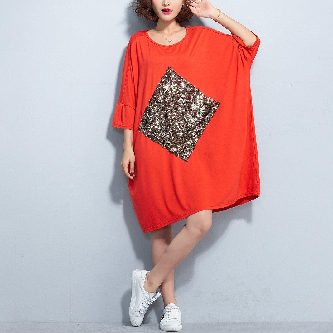 New orange red cotton dress plus size cotton clothing dress New bracelet sleeved appliques knee dresses