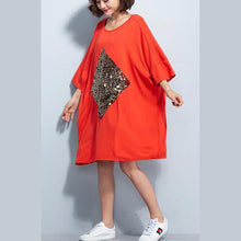 Load image into Gallery viewer, New orange red cotton dress plus size cotton clothing dress New bracelet sleeved appliques knee dresses