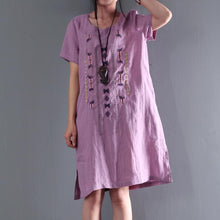 Laden Sie das Bild in den Galerie-Viewer, New pink oversize summer shift dress linen sundresses