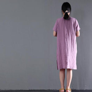 New pink oversize summer shift dress linen sundresses