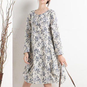 New print floral sundress long sleeve summer dresses spring cotton blouse shirt