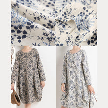 Laden Sie das Bild in den Galerie-Viewer, New print floral sundress long sleeve summer dresses spring cotton blouse shirt