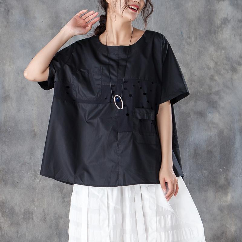 New pure cotton tops plus size Loose Round Neck Short Sleeve Pure Black T-shirt