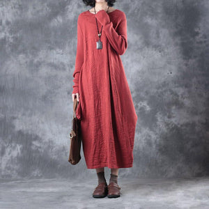 New red long knit dresses oversize asymmetrical design 2018 o neck caftans gown