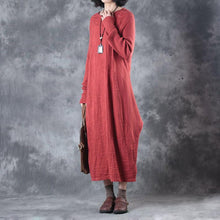 Load image into Gallery viewer, New red long knit dresses oversize asymmetrical design 2018 o neck caftans gown