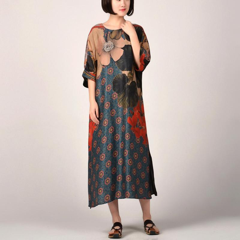 New red prints long silk dresses oversize side open traveling clothing 2018 patchwork silk caftans