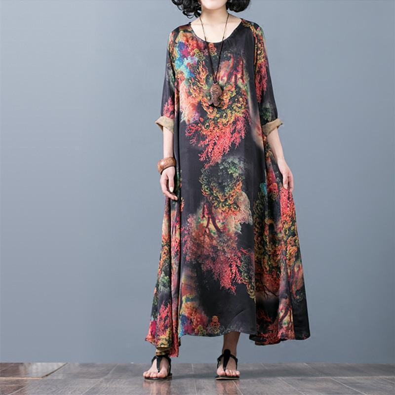 New red prints silk caftans casual asymmetric silk gown Fine o neck maxi dresses