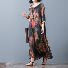Load image into Gallery viewer, New red prints silk caftans casual asymmetric silk gown Fine o neck maxi dresses