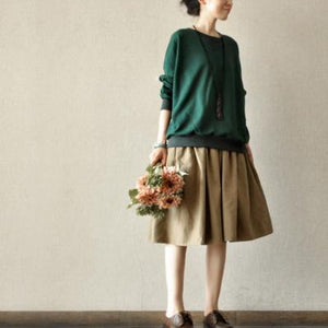 New stylish khaki cotton pleated skirts loose summer mid skirts