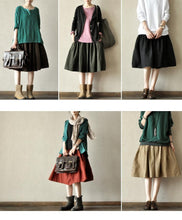Load image into Gallery viewer, New stylish khaki cotton pleated skirts loose summer mid skirts