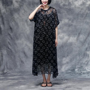 New summer dress bohemian style Summer Floral Short Sleeve Black Casual Two-piece Dress