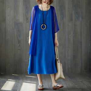 New summer dress fashion Short Sleeve Summer Casual Blue Fake Two-piece Long Dress