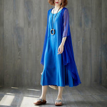 Load image into Gallery viewer, New summer dress fashion Short Sleeve Summer Casual Blue Fake Two-piece Long Dress