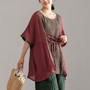 New summer linen tops casual Loose Large Size Women Short Sleeve Splicing Tops