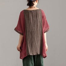 Load image into Gallery viewer, New summer linen tops casual Loose Large Size Women Short Sleeve Splicing Tops