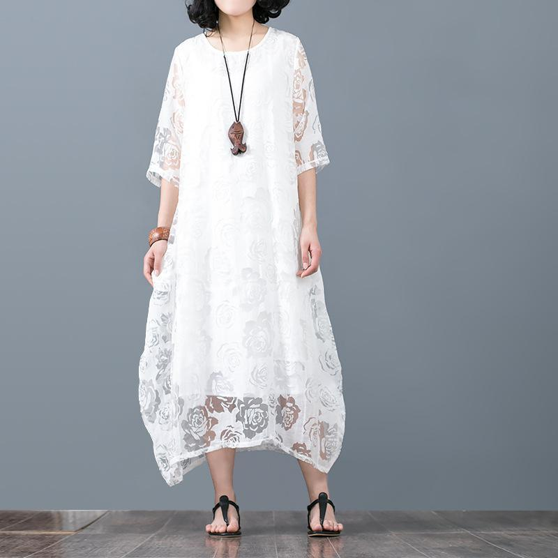 New white floral  linen dresses plus size o neck lace traveling dress vintage bracelet sleeved cotton caftans