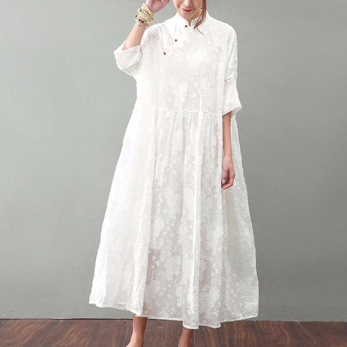 New white natural silk dress  plussize jacquard linen clothing dress New bracelet sleeved maxi dresses