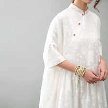 Load image into Gallery viewer, New white natural silk dress  plussize jacquard linen clothing dress New bracelet sleeved maxi dresses