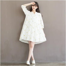 Load image into Gallery viewer, New white retro print cotton shift dress oversize shirt blouse sundress