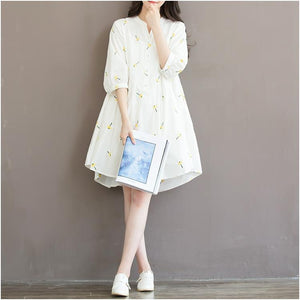 New white retro print cotton shift dress oversize shirt blouse sundress