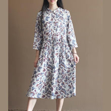 Load image into Gallery viewer, Nude bamboo leaves print pleated dress plus size long cotton dresses