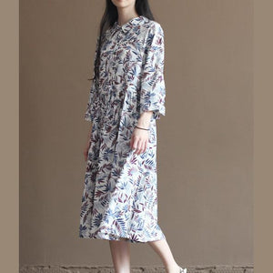 Nude bamboo leaves print pleated dress plus size long cotton dresses