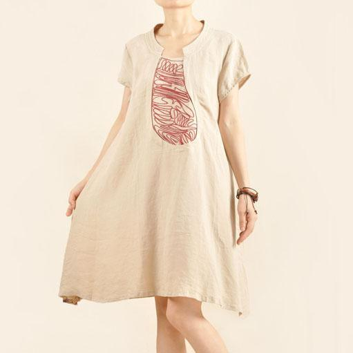 Nude causal sundress linen shift dress