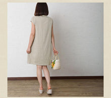 Laden Sie das Bild in den Galerie-Viewer, Nude cotton dress plus size shift dress linen sundresses