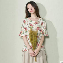 Load image into Gallery viewer, Nude floral linen women shirt top oversize blouse half sleeve