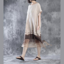 Load image into Gallery viewer, Nude flowy linen dresses long maxi dress silk patchwork