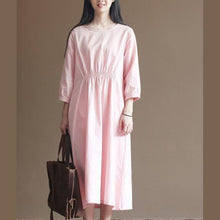 Load image into Gallery viewer, Nude high waist cotton dress plus size elastic tunic dresses
